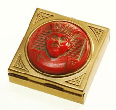 VTG ART DECO MAX NEIGER EGYPTIAN REVIVAL GLASS CAMEO PILL BOX