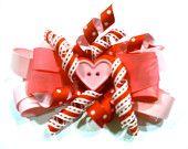 Children's Big Hair Bow - Valentine's Day Barrette