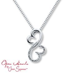 Open Hearts Family 1/20 ct tw Diamonds Sterling Silver Necklace