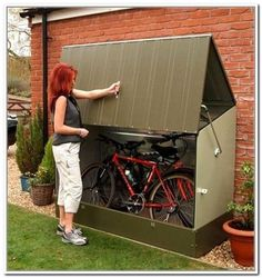 How To Use Storage Shed Plans To Declutter Your Home - Exterior Rubbermaid Bicycle Storage Shed Inspiring Picture… - Outside Bike Storage, Bicycle Storage Shed, Outdoor Bike Storage, Bike Shed, Backyard Storage, Wood Shed Plans, Diy Shed Plans, Storage Shed Plans, Rubbermaid Storage Shed