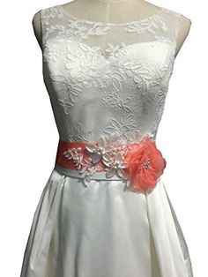 Organza flowers with appliques wedding sash (Coral) Lemandy https://www.amazon.com/dp/B01H1QN5H0/ref=cm_sw_r_pi_dp_-ugOxbPXENN6Q