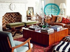 Los Angeles home Actor Matt Jones actress wife, Kelly Daly.- cognac leather sofa -Bailey McCarthy, a Houston-based decorator -Turquoise chair My Living Room, Living Spaces, Minimalist Bathroom Design, Boho Home, Restaurant, Eclectic Decor, Eclectic Style, Interior Design Inspiration, Design Ideas
