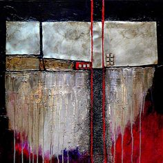Industrial Chic mixed media abstract painting Carol Nelson Fine Art, painting by artist Carol Nelson