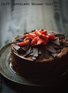 Chocolaty, chocolaty, chocolaty, this Dark Chocolate Mousse Cake is a chocolate lovers delight. make ahead and not very difficult, it's a lovely cake to make for a special occasion. Dark Chocolate Mousse, Chocolate Desserts, Chocolate Lovers, Chocolate Cake, Baking Chocolate, Sweet Pastries, Holiday Cakes, How Sweet Eats, Food 52