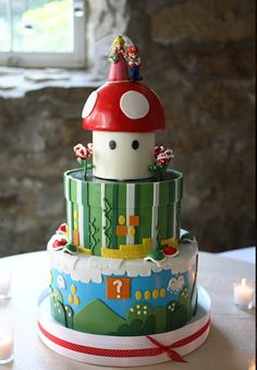 This is one of the select FEW video game groom's cake I could handle! Bolo Do Mario, Bolo Super Mario, Video Game Cakes, Video Game Party, Video Games, Beautiful Cakes, Amazing Cakes, Cupcakes Super Mario, Mario Bros Cake