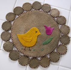 Spring Chick Penny Rug by QuiltgirlsCreations on Etsy, $25.00