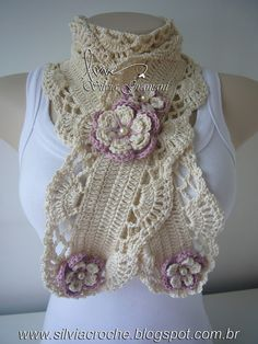 Crochet scarf with flowers Col Crochet, Crochet Collar, Irish Crochet, Crochet Motif, Crochet Shawl, Crochet Flower Patterns, Crochet Flowers, Crochet Scarves, Crochet Clothes