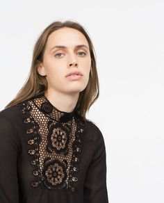 TOP WITH CROCHET BIB FRONT-Blouses-Tops-WOMAN-SALE   ZARA United States