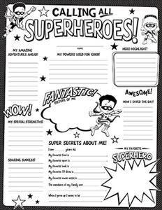 super hero welcome back student activities classroom forms