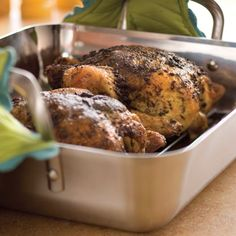 Herb-Roasted Chickens.  One huge benefit of roasting a chicken with fresh herbs is that it fills your home with a tantalizing aroma while it's cooking.