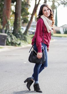 Weekend Casual Outfit Wine colored Tunic from Shop The Mint with dark distressed hollister jeans and LC lauren conrad black heeled booties