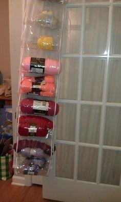 Yarn Stash Storage in a shoe organizer!