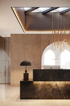 Les plus belles Lobbies et Réceptions Hotel Lobby Design, Modern Hotel Lobby, Hotel Interiors, Office Interiors, Design Entrée, Word Design, Design Ideas, Graphic Design, Office Reception Design