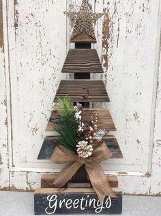 Rustic Christmas tree using weathered wood