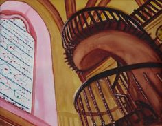 """Miraculous Staircase,"" watercolor, 20 x 16"