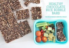 My kids always ask for the store variety LCM rice bubble bars, but making them at home is really easy and so much more cost effective. Making one batch of these healthy chocolate rice bubble bars only takes minutes and makes 16 good sized portions. Healthy Rice, Healthy Lunches For Kids, Kids Meals, Healthy Snacks, Healthy Recipes, Lunch Box Recipes, Snack Recipes, Lunchbox Ideas, Cookie Recipes