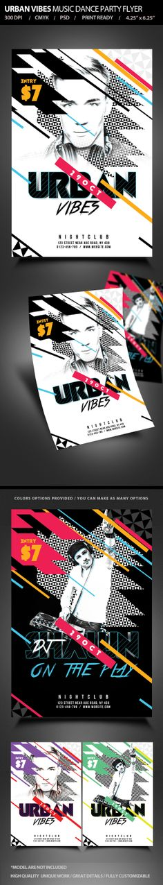 Urban Vibes Music Dance Party Flyer by satgur , via Behance