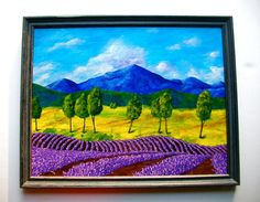 Lavender In Provence ORIGINAL ACRYLIC PAINTING 14 by MikeKrausArt
