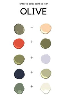 Great color combinations using shades of Olive green. Great color combinations using shades of Olive green. The post Great color combinations using shades of Olive green. appeared first on Wohnen ideen. Olive Green Rooms, Olive Green Paints, Olive Green Kitchen, Green Paint Colors, Green Color Schemes, Green Colour Palette, Color Combos, Color Pairing, Olive Green Outfit