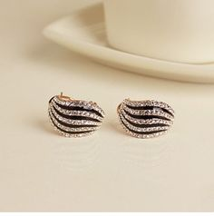 New Stylish Zebra Design Crystal Women's Stud Earrings