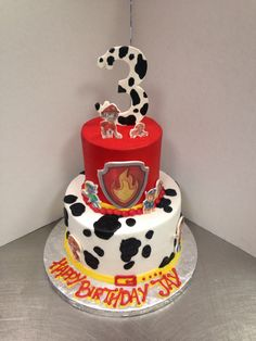 Paw Patrol ( fire marshal ) Paw Patrol Birthday Cake, 3rd Birthday Cakes, Paw Patrol Party, Baby Boy Birthday, 3rd Birthday Parties, Birthday Ideas, Pastel Paw Patrol, Torta Paw Patrol, Paw Patrol Decorations