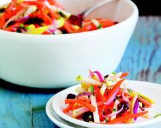 Looks impressive! This weeks' #MeatlessMonday recipe: Carrot Apple Slaw With Cranberries from the Longevity Kitchen cookbook