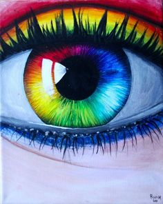 50 Ideas for eye painting rainbow Rainbow Eyes, Rainbow Art, Rainbow Colors, Rainbow Painting, Rainbow Drawing, Cute Drawings, Drawing Sketches, Pencil Drawings, Tableau Pop Art