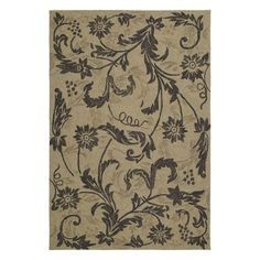 Shop Kaleen Home and Porch Rectangular Brown Floral Indoor/Outdoor Area Rug (Common: 5-ft x 8-ft; Actual: 5-ft x 7-ft 6-in) at Lowes.com