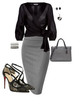 Grey Skirt by lindsey-ellis on Polyvore featuring Alice + Olivia, Christian Louboutin, Tumi, Charlotte Russe and Blue Nile