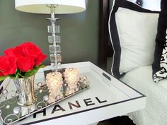 $3 Flea Market Butler's Tray Table Turned DIY Chanel Bedside Table
