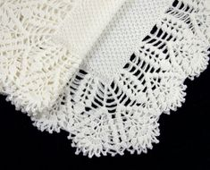 Knitted Baby Blanket with Crochet Lace Edging  by SasasHandcrafts