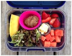 100 Days of #RealFood #SchoolLunch Leftover grass-fed hamburger – served cold (in cookbook) Salad Half a banana Strawberries Watermelon Cheddar cheese
