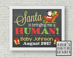 This Christmas themed printable chalkboard sign makes the perfect photo prop to share the exciting news of expecting a baby with your current fur-baby / fur-babies.  This design can be done to announce with one pet (getting me a human) or multiple pets (getting us a human) Just select which one you require from the drop down menu at checkout.  You will receive a digital JPEG file formatted to be printed as either 8x10, 11x14 or 16x20 which you can print from home or at any printing shop…