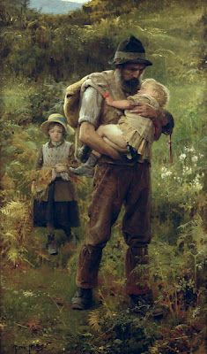 """""""I cannot think of any need in childhood as strong as the need for a father's protection."""" ~Sigmund Freud (The Family JOHN DICKSON BATTEN c. 1932 ENGLISH) Simply Genre©"""