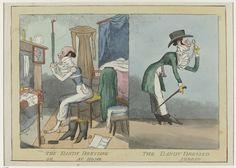Anonymous | The dandy dressing/dressed or at home/abroad, ca. 1820-1830, Anonymous, c. 1820 - c. 1830 | Karikatuur van een dandy die zich thuis aankleedt (links) en hoe hij in het buitenland op straat gekleed gaat (rechts). Thuis zit hij in zijn ondergoed voor een spiegel en is hij bezig zijn cravate te knopen. Op straat staat hij voorovergebogen en kijkt door zijn lorgnet. Hij draagt een frak en lange broek. Hieronder een hemd met grote gerimpelde jabot. Accessoires: hoed, monocle…