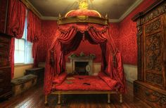 Bolling Hall, Chippendale Couch Bed. Pure silk damask in crimson for hangings on…