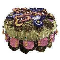 Pansy Petal Footstool by MacKenzie-Childs, Ltd. on HomePortfolio Gypsy Chic, Bohemian Gypsy, Gypsy Style, Bohemian Decor, Bohemian Style, Unique Furniture, Painted Furniture, Diy Furniture, Mckenzie And Childs