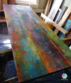Custom coffee table colorful bronze copper and iron patina inspired rustic industrial pipe frame Funky Furniture, Paint Furniture, Furniture Projects, Furniture Makeover, Rustic Furniture, Furniture Websites, Furniture Online, Plywood Furniture, Discount Furniture