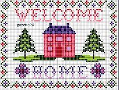 Punto croce - Schemi e Ricami gratuiti: Schemi punto croce facile-imparaticci casa dolce casa