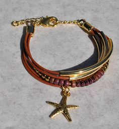 Nautical Strands Russet Brown Leather Bracelet & Gold Sea Life Charm