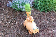 Terra Cotta Pot Race Car and Driver DIY Garden Sculpture Craft