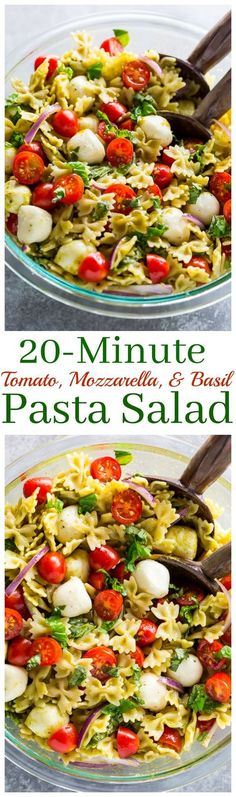This 20-Minute Tomato, Basil, and Mozzarella Pasta Salad is fresh, fast, and flavorful!