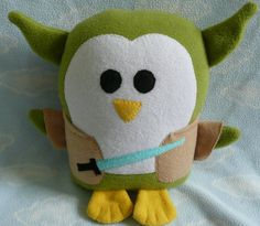 Plush Green Star Knight penguin pillow pal by AnitaKleinDesigns, $22.00
