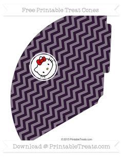 Free Dark Purple Chevron  Hello Kitty Treat Cone