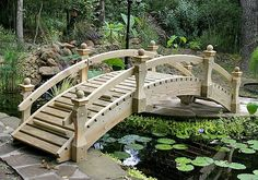 Wood garden bridges are one of my favorite for outdoor living ideas.