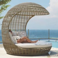 Modern outdoor daybed for the pool or a day bed with a canopy for the patio or outdoor room. Outdoor Daybed, Outdoor Seating, Outdoor Rooms, Outdoor Living, Outdoor Decor, Modern Outdoor Furniture, Outdoor Garden Furniture, Rustic Furniture, Design Living Room