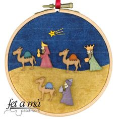 Kit Navidad Reyes Bastidor Christmas Patchwork, Christmas Embroidery, Blue Christmas, Felt Christmas, Christmas Holidays, Christmas Ornaments, Christmas 2017, Nativity Crafts, Christmas Projects
