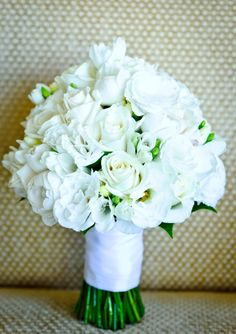 "Beautiful ""All White"" Hand Tied Wedding Posy Arranged With: Freesia, Roses & Lisianthus~~"