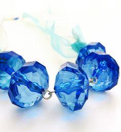 blue blue blue #necklace #ribbon #handmade