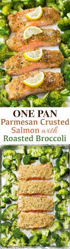 Single Sheet Pan Parmesan Crusted Salmon with Roasted Broccoli - everything is roasted together on one pan so clean up is a breeze! Its healthy and it tastes incredible!?
